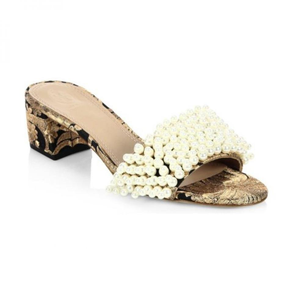 f0c088dc7e91d3 Tory Burch Color Black Gold Naya Tatiana Pearly Tweed Slide Sandals ...