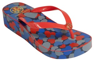 Tory Burch Size 9 New In Box multi Wedges
