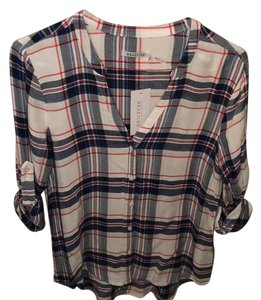 Kenneth Cole Button Down Shirt Red, White, Blue