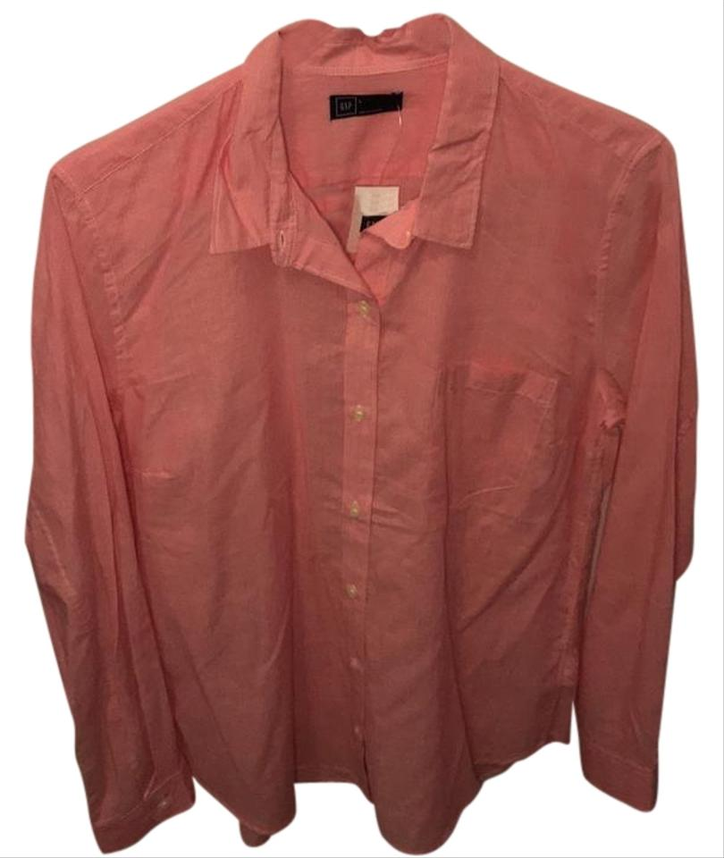 Gap red and white button down top size 12 l tradesy for Red and white button down shirt