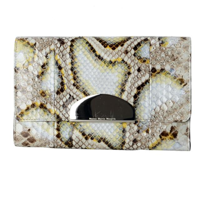 "Item - ""1"" Women's Multi-color Blue / Tan Python Skin / Leather Clutch"