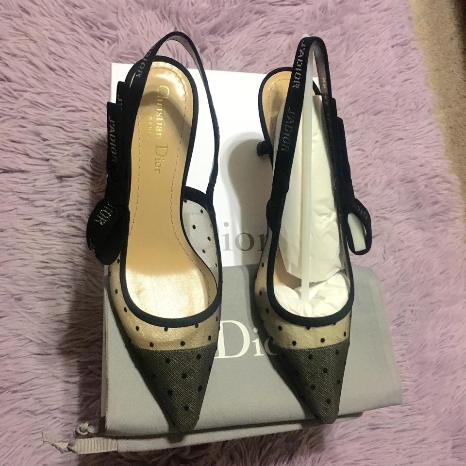 c783275453c Dior Black New 2017 Limited Slingback Suede Swiss Dotted High Heel Nude  Rhinestones 37.5 Pumps Size US 7.5 Regular (M