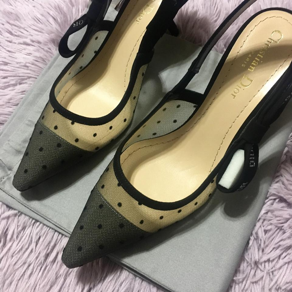 dd8ce7f4d94 Dior Black New 2017 Limited Slingback Suede Swiss Dotted High Heel ...