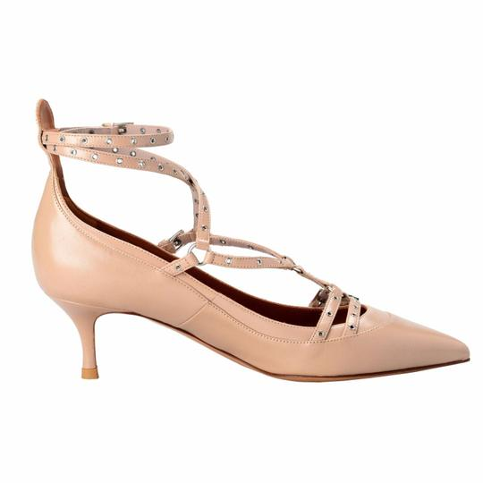 valentino beige garavani women 39 s leather ankle strap kitten heels pumps size us 7 regular m b. Black Bedroom Furniture Sets. Home Design Ideas