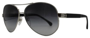 Chanel Chanel Silver and Black Aviator Quilted Sunglasses 4195-Q 61