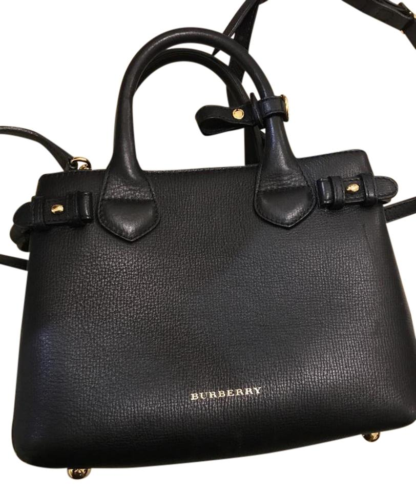87289d28fa3 Burberry Small Banner House Check Derby Banner Satchel Black Leather Tote