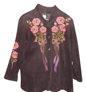 Bob Mackie Black w/red, gold, purple flowers and purple and gold ribbon around flowers Jacket