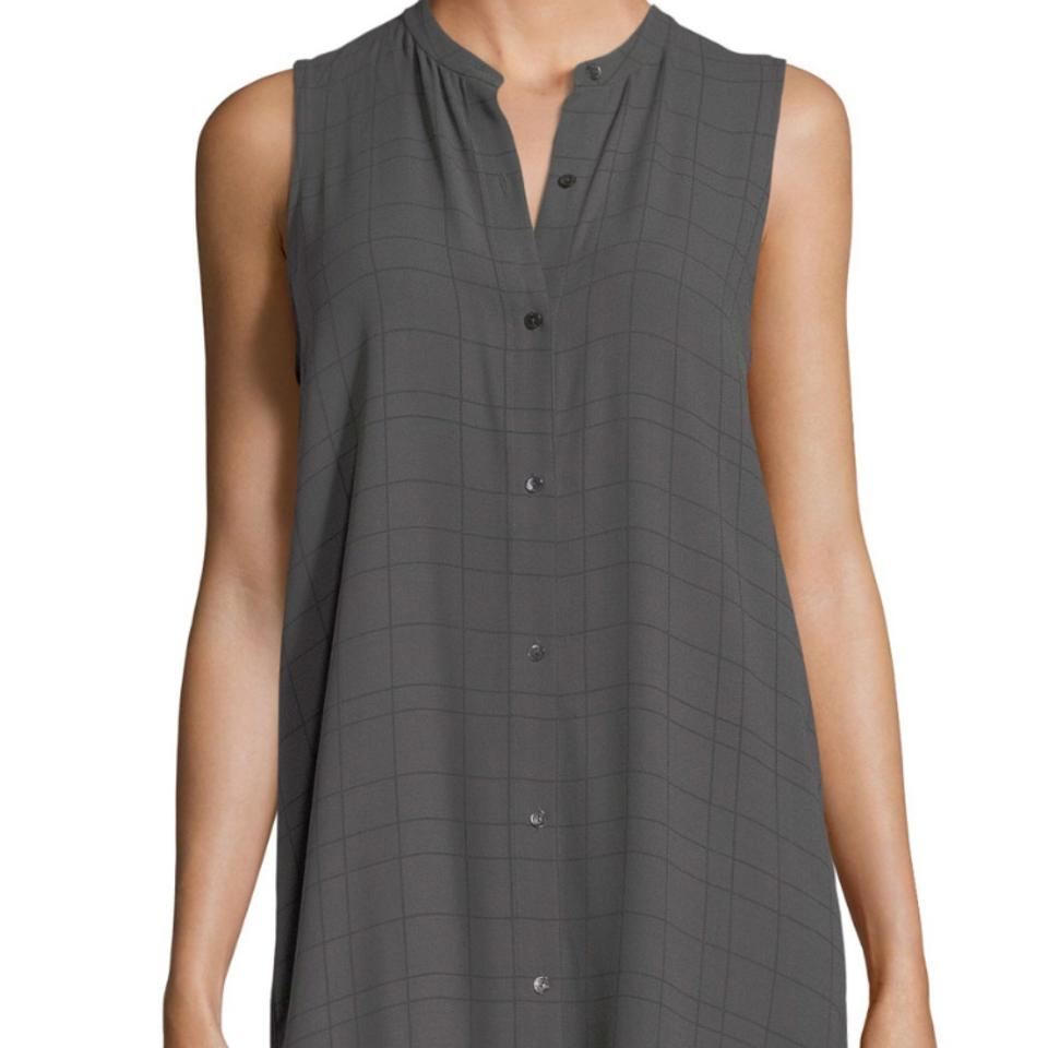 dd1f6f99e9ce6 Eileen Fisher Gray Sleeveless Windowpaplaid Tencel Tunic Size Petite ...