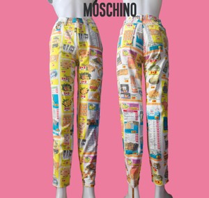 Moschino Franco 80s 90s Graphic Print Cotton Italy Straight Leg Jeans