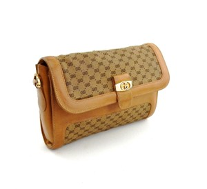 Gucci Leather Gg Brown Clutch