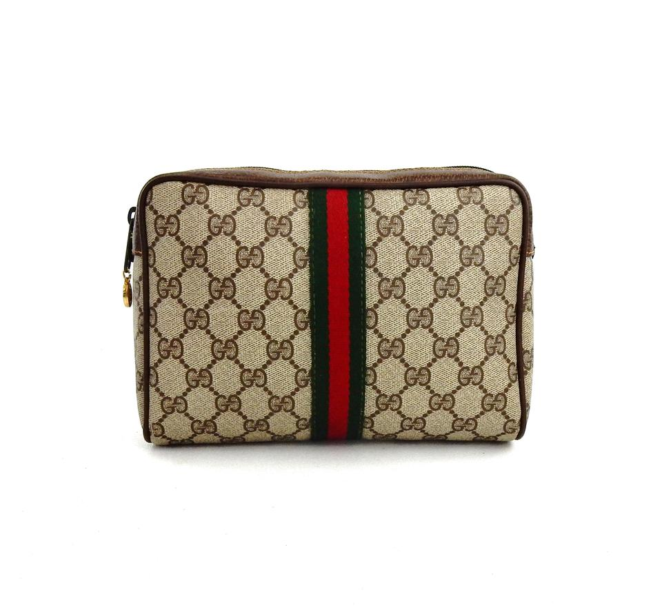 b656127bed92 Gucci Vintage Web GG Logo Canvas Leather Cosmetics Travel Dopp Toiletry Bag  Image 0 ...