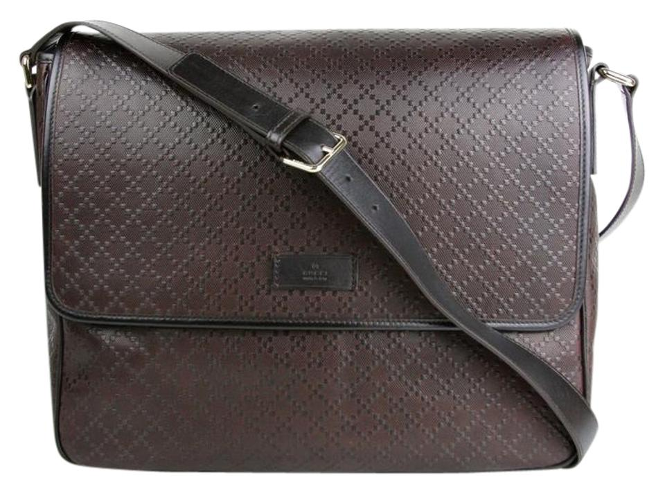 8ec90b9578f Gucci Hilary Lux Diamante 223665 2044 Dark Brown Leather Messenger ...