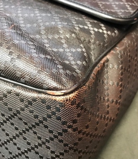 Gucci Hilary Lux Diamante Leather Dark Brown Messenger Bag Image 10