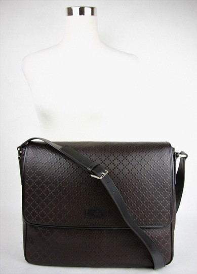 Gucci Hilary Lux Diamante Leather Dark Brown Messenger Bag Image 5