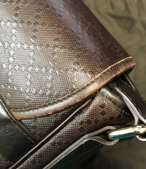 Gucci Hilary Lux Diamante Leather Dark Brown Messenger Bag Image 9