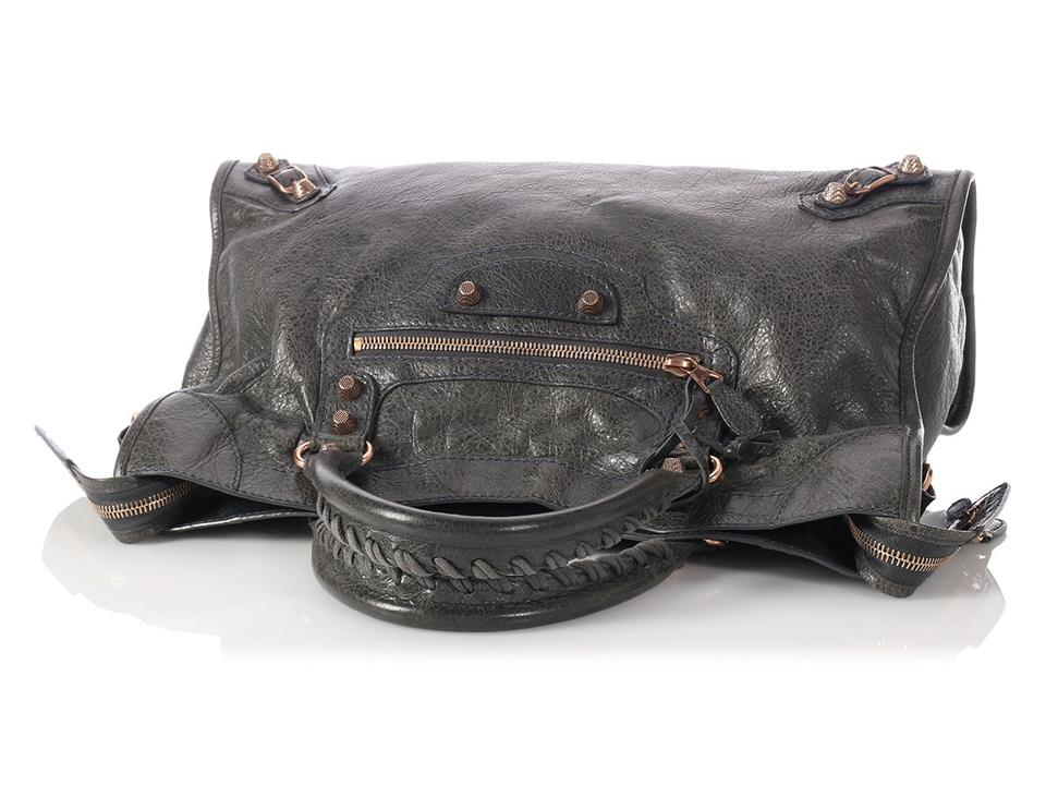 1ed7ca601ec Balenciaga 2012 Anthracite Giant 12 Rose Gold City Gray Lambskin Leather  Satchel