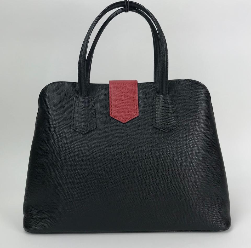 faca9c62a340 Prada Promenade Saffiano Cuir Bicolor Nero Fuoco Black Red Leather Tote