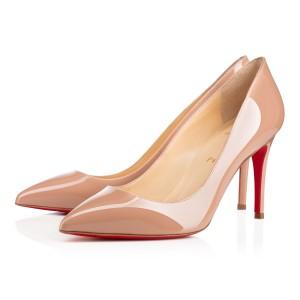 Christian Louboutin Pointed Toe Piaglle Follies Patent Leather Nude Pumps