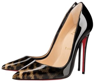 Christian Louboutin So Kate Patent Leather Leopard and Black Degrade Pumps