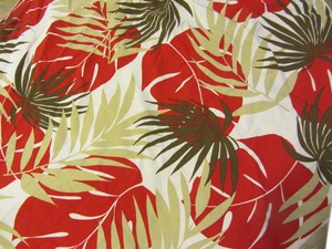 Leilani LEILANI HAWAIIAN STYLE cover up SHORT SKIRT WRAP red, tan, leaves, palms, TROPICAL PATTERN