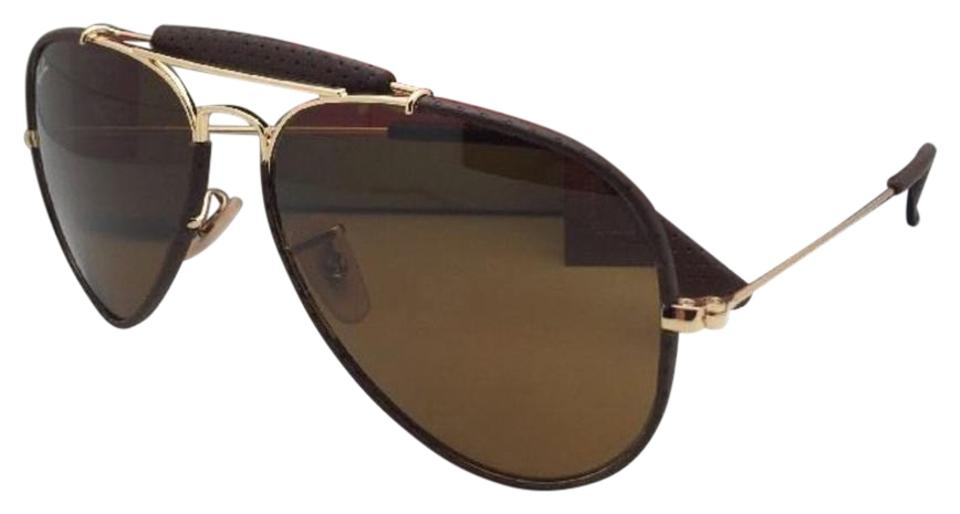 ece2c8a67e Ray-Ban New Rb 3422-q 9041 Gold   Brown Leather Aviator W  B15 Brown ...