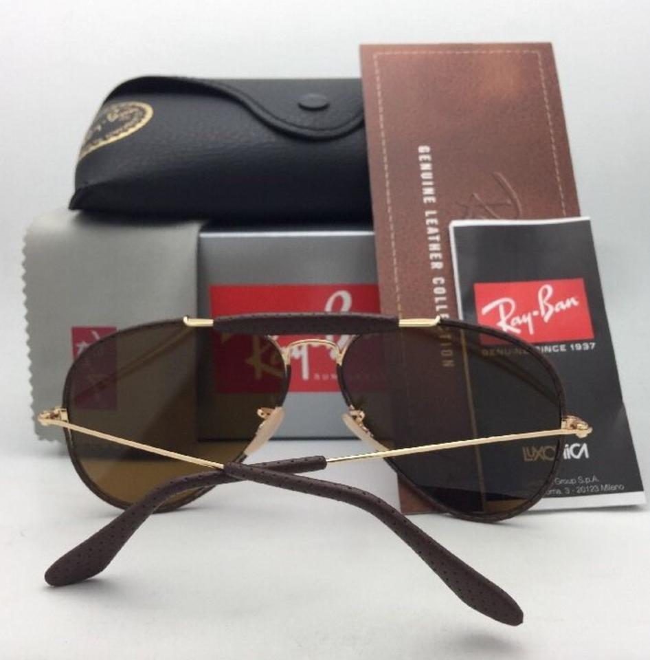 af03249206 Ray-Ban New Rb 3422-q 9041 Gold   Brown Leather Aviator W  B15 Brown  Sunglasses - Tradesy