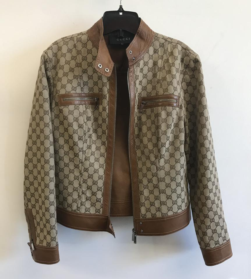 ff1c40fe3 Gucci Beige Vintage Gg Supreme with Leather Detail Jacket Size 4 (S ...