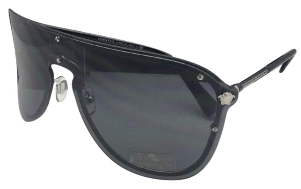 815ae2896e Versace New VERSACE Sunglasses VE 2180 1000 87 125 Silver   Black Shield  Frame Image ...