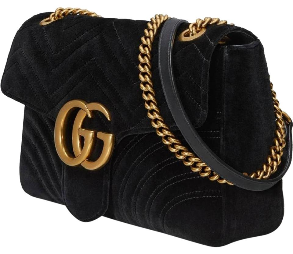 9b93b0e1bfb1 Gucci Velvet Gold Hardware Chain Front Flap Large Flap Shoulder Bag Image 0  ...