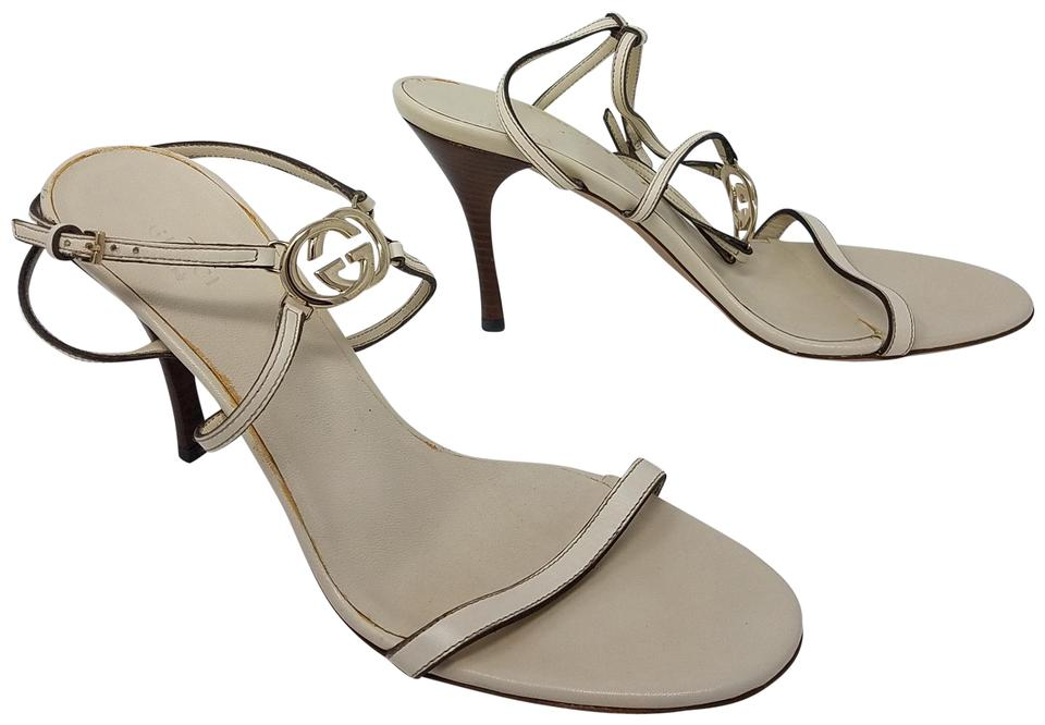 bc1f92db95d Gucci White Gold Ivory Leather Gg Logo Ankle Strap Sandals. Size  EU 40.5 ( Approx.