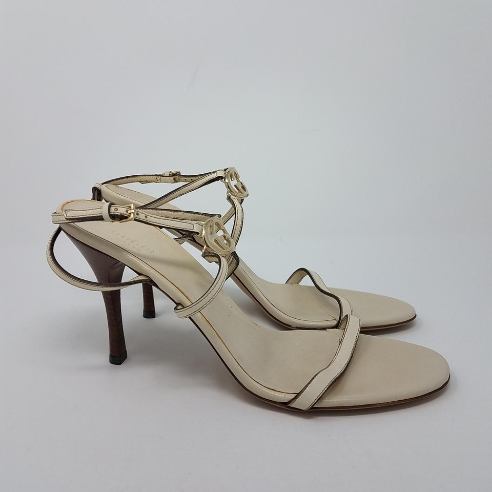 f95cad58384 Gucci White Gold Ivory Leather Gg Logo Ankle Strap Sandals Size EU 40.5 ( Approx. US 10.5) Regular (M