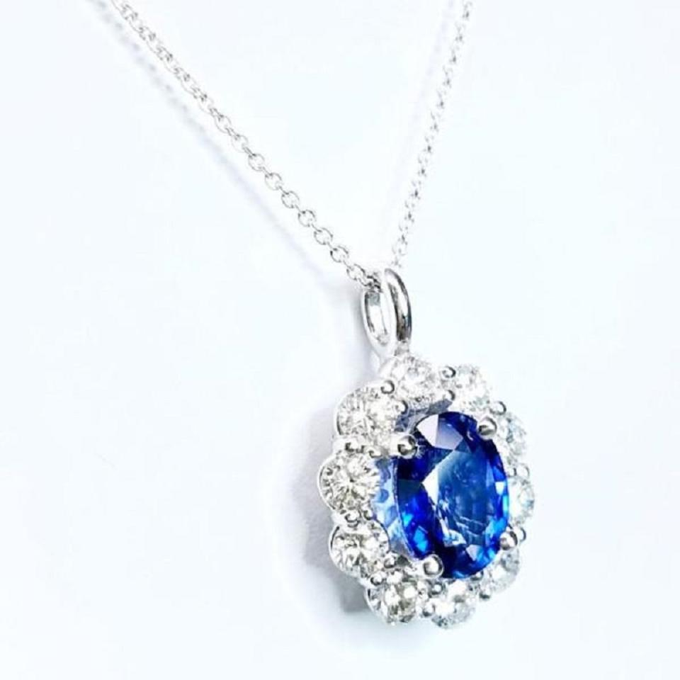 Sapphire diamond pendant on a chain necklace tradesy swd sapphire diamond pendant on a chain 123 aloadofball Image collections