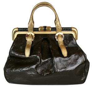 Oscar de la Renta Patent Leather Crocodile Hardware DARK BROWN, GOLD, BLACK, TORTOISESHELL Travel Bag