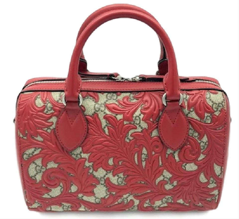 6c99b6f4c819 Gucci Boston Arabesque Gg Supreme Monogram Small Top Handle Red ...