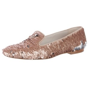 Chanel Loafers Sequin Slippers Pink Flats