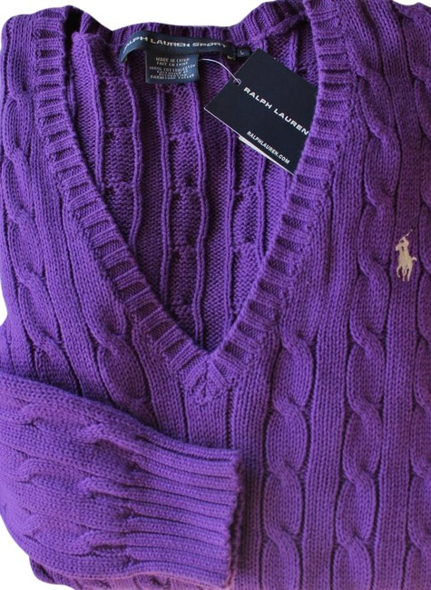 Preload https://img-static.tradesy.com/item/22259224/ralph-lauren-grand-purple-v-neck-cable-knit-cotton-nt-sweaterpullover-size-6-s-0-1-650-650.jpg