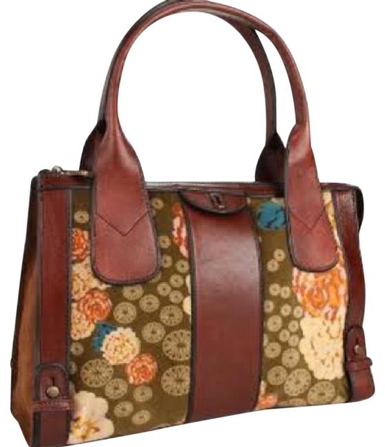 Item - Zb4911 Brown Multi Leather Tapestry Satchel