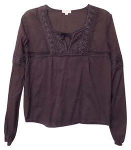 Jill Stuart Embroidered Oversized Loose Fit Cotton Top Brown