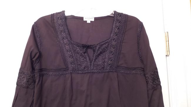 Jill Stuart Embroidered Oversized Loose Fit Cotton Top Brown Image 1
