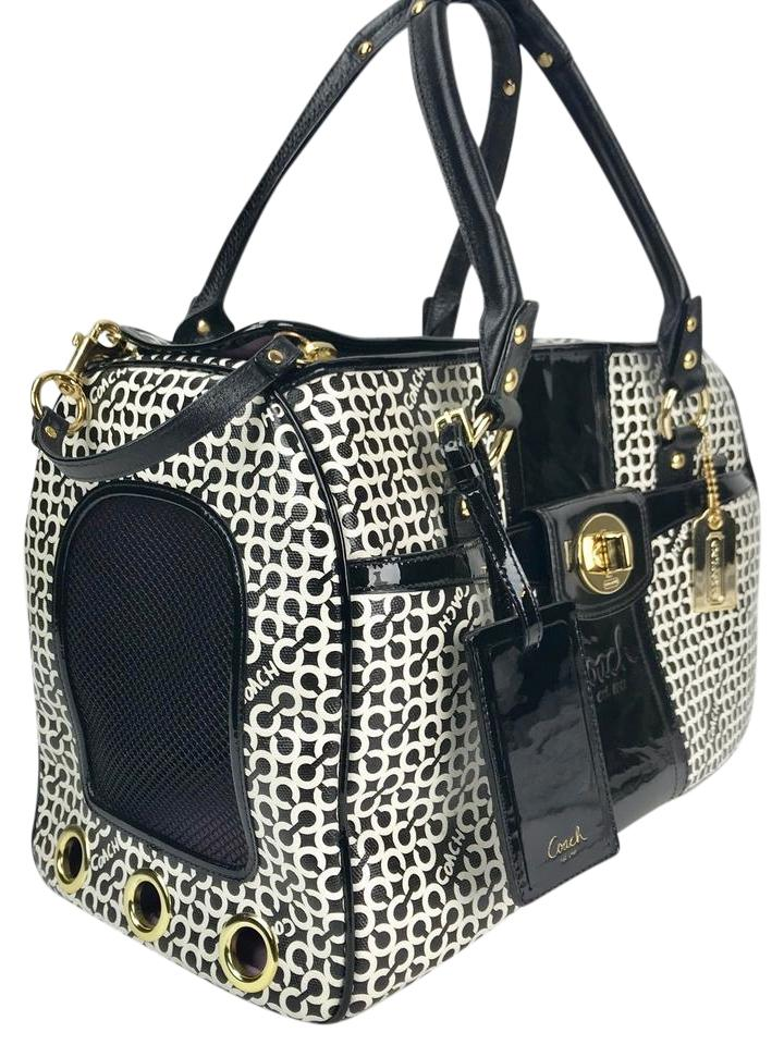 Coach Pet Cage Carrier Dog Carries Cat Black White Travel Bag