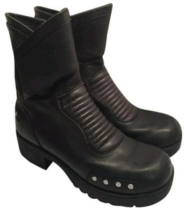 Double-H Boots Leather Biker Black Boots