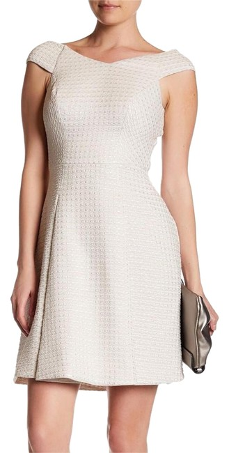 Preload https://img-static.tradesy.com/item/22259964/yoana-baraschi-cream-silver-etoile-stretch-fit-and-flare-textured-short-cocktail-dress-size-6-s-0-2-650-650.jpg