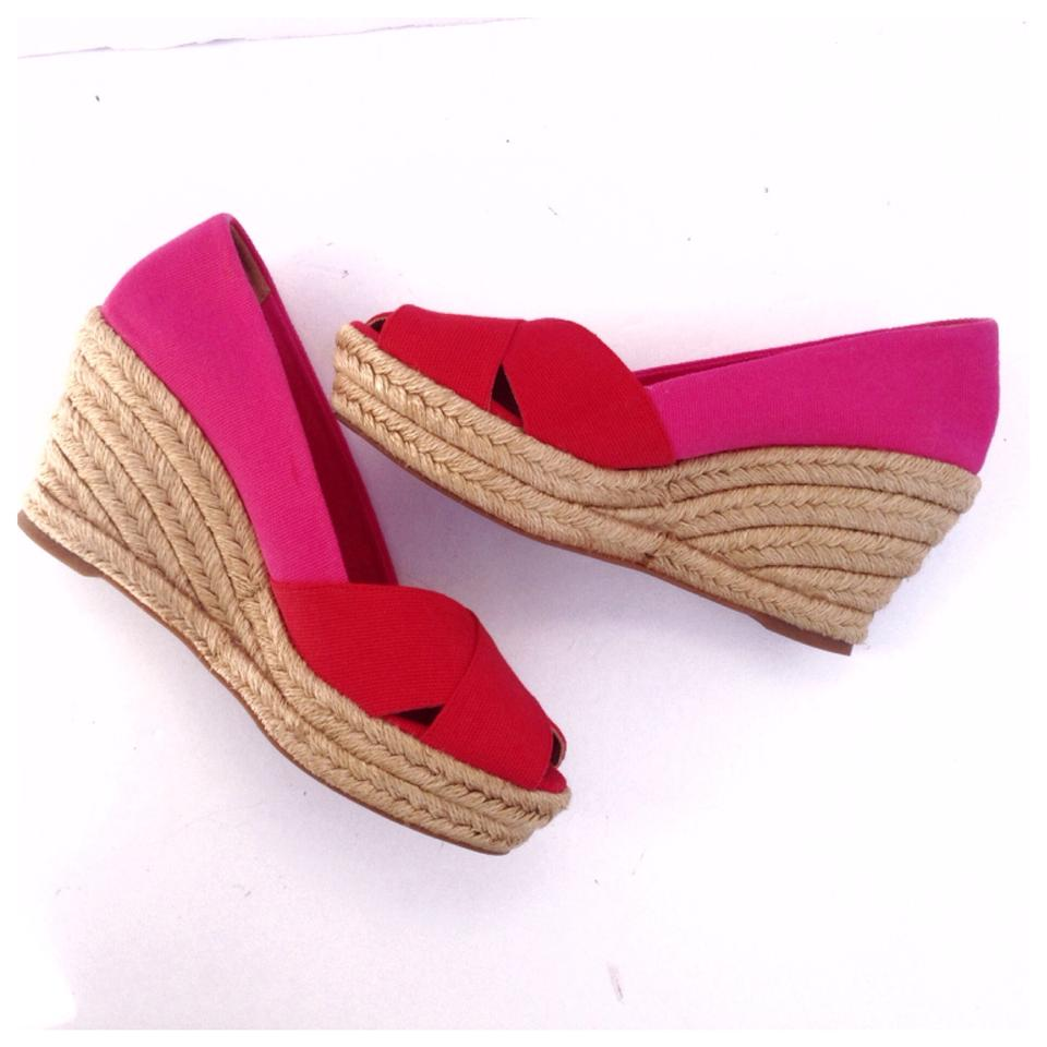 b16d2be3c Tory Burch Pink/Red Filipa Colorblock Espadrille Sandal Wedges Size ...