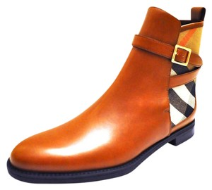Burberry Richardson Check Canvas Round Toe Made In Italy Buckled Strap Chestnut Boots