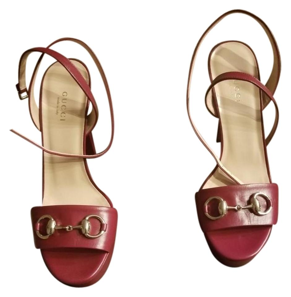 94b96dd0c87 Gucci Raspberry Vibrant and Sexy Leather Platforms Size EU 37 ...