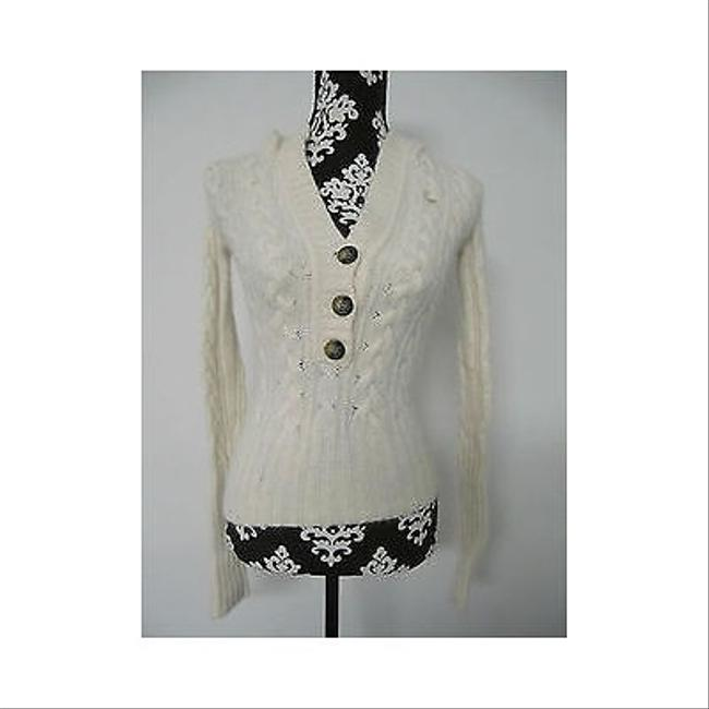 Abercrombie & Fitch Womens Cream Hooded Half Button Sweater