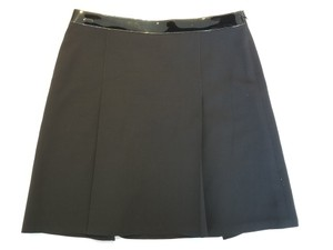 Ralph Lauren A Line Patent Leather Wool Stretch Skirt Black