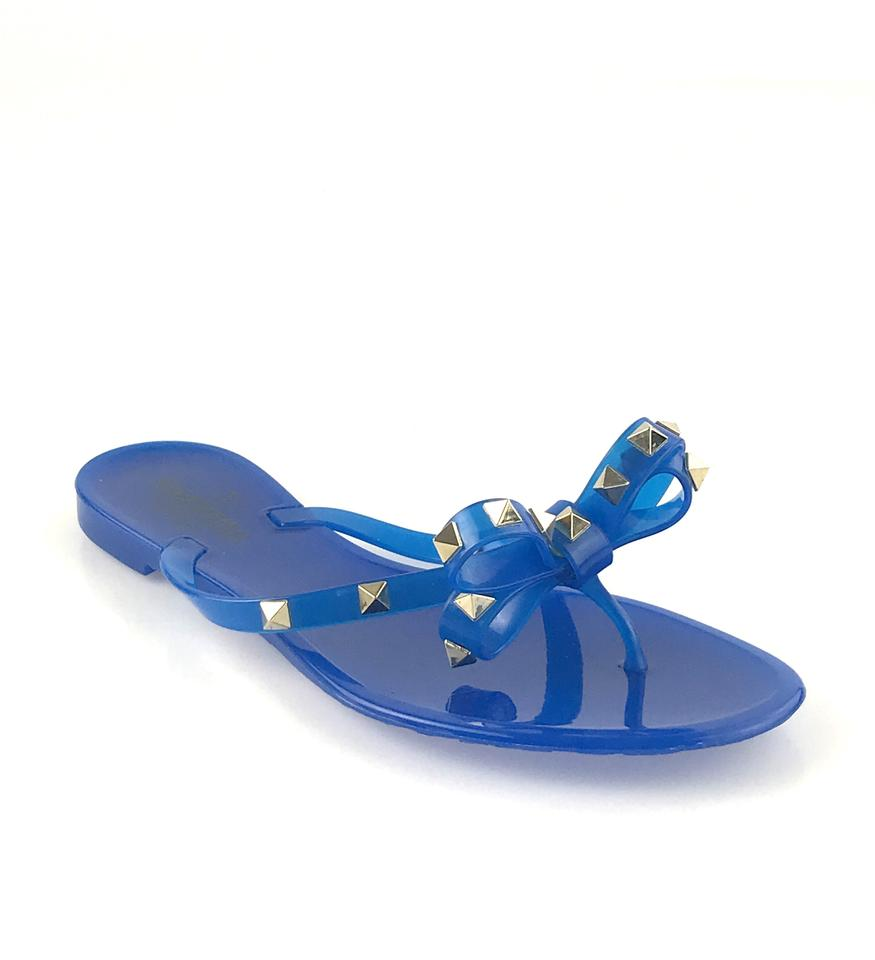 b73fce36004c Valentino Jelly Bow Gold Hardware Studded Rockstud Blue Sandals Image 0 ...
