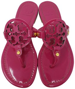 9f64cc11143 Tory Burch Purple Gold Magenta Patent Leather Miller 37 Sandals Size ...