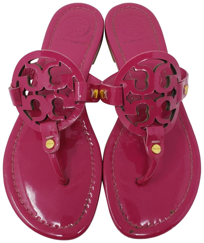 8d82718cd315 Tory Burch Purple Gold Magenta Patent Leather Miller 37 Sandals Size ...